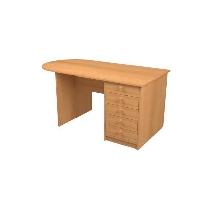Učit. stůl velký se zásuvkami š. 1600 mm, zaoblení vlevo