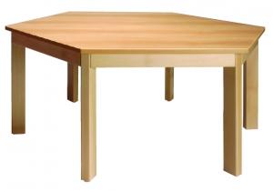 Stůl šestiúhelník průměr 117/58 barva desky O, J, G, B