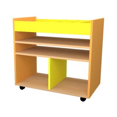 Mini výtvarný vozík žluto/oranž, police javor