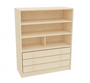 KLASIK skříň se 3 podélnými zásuvkami a 2 policemi