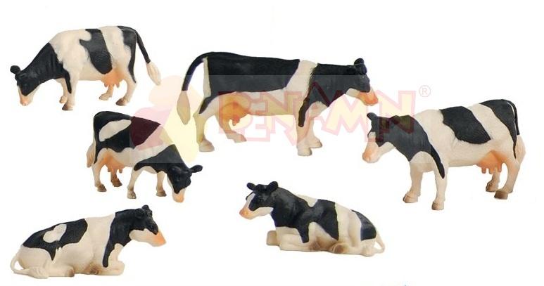 Kráva černobílá - sada 6 ks