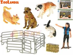 Domácí zvířátka farma s doplňky 3 druhy v krabičce (kočka, pes, králík)