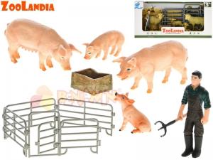 Farma - zvířátka s mláďátky - 2 druhy v krabičce (ovce, vepř)
